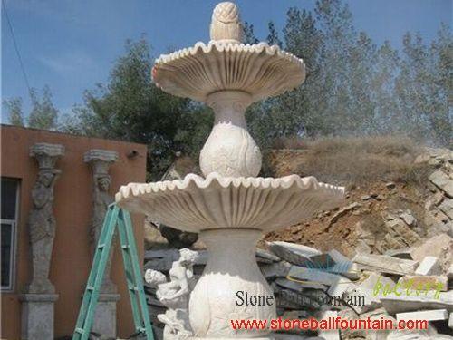 Beige 3 Tier Marble Water Fountain