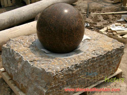 Yellow Granite Floating Ball Fountain1