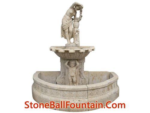 Beige Travertine Wall Fountain With Boy