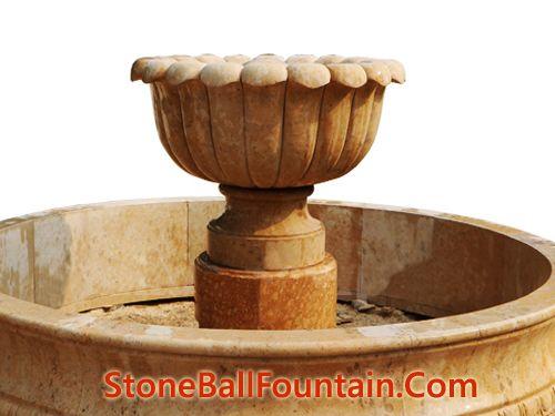 Flower Beige Marble Bowl Fountain