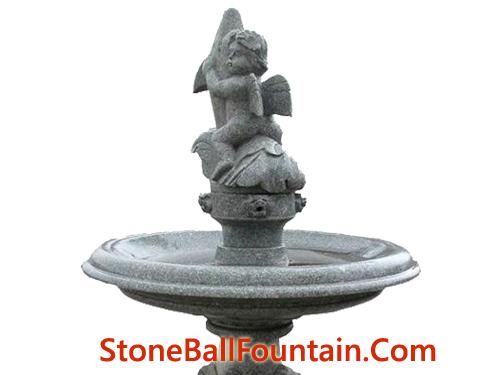 Grey Granite Garden Water Fountain With Boy