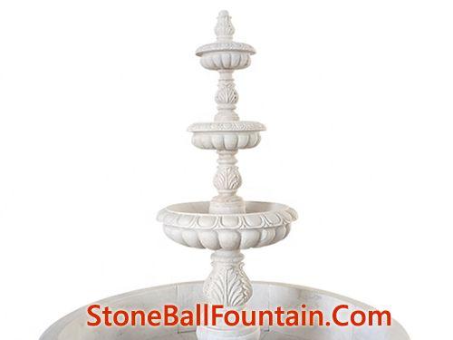 3 Tiered White Marble Garden Fountain