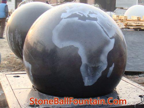 Black Granite Ball Water Feature Fountain