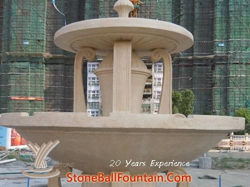 Beige Marble Plaza Fountain